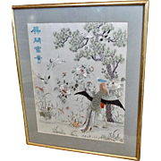 Antique Chinese Embroidered Silk Panel Hundred Birds Pattern Calligraphy Phoenix