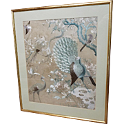 19th Century Chinese Embroidered Silk Picture Hundred Birds Design Peacock