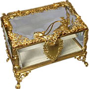 Beautiful Antique French Dore Bronze Crystal Vitrine Casket