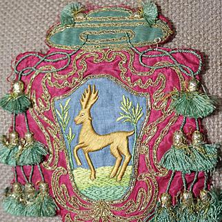 Antique Ecclesiastical Armorial Embroidery Bishop Heraldic Coat of Arms