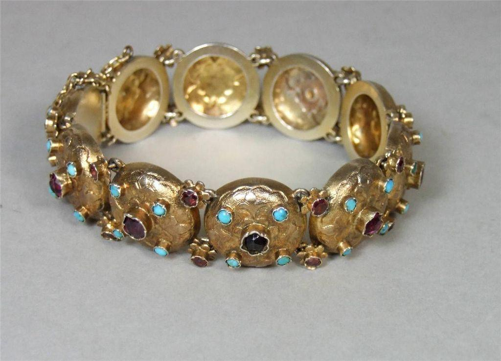 Antique Austro Hungarian Jeweled Silver Gilt Bracelet