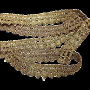 Antique French Empire Gold Metallic Trim Passementerie
