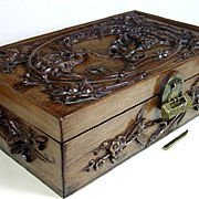 Spectacular Antique Chinese Carved Wood Scholars Box