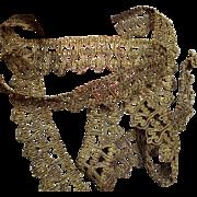 "Antique French Napoleonic Gold Metallic Trimming Galon 72"" x 1,5"""