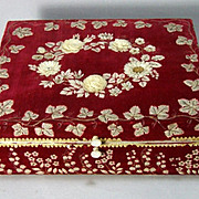 Rare Exceptional English Georgian Velvet Sewing Casket Fish Scale Embroidery