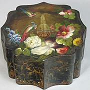 Beautiful Antique English Regency Toleware Painted Bon Bon  Box