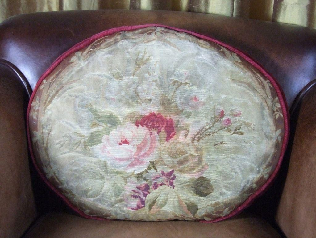 Antique French Aubusson Pillow ROSES Rare