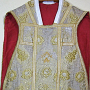 Antique Religious Embroidery Chasuble Raised Gold Metallic Flowers