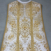 Antique Spanish Religious Chasuble Vestment Gold Metallic Embroidered Silk