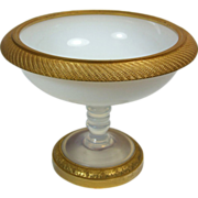 Antique French Napoleon III Bulle de Savon Opaline Dore Bronze Glass Tazza