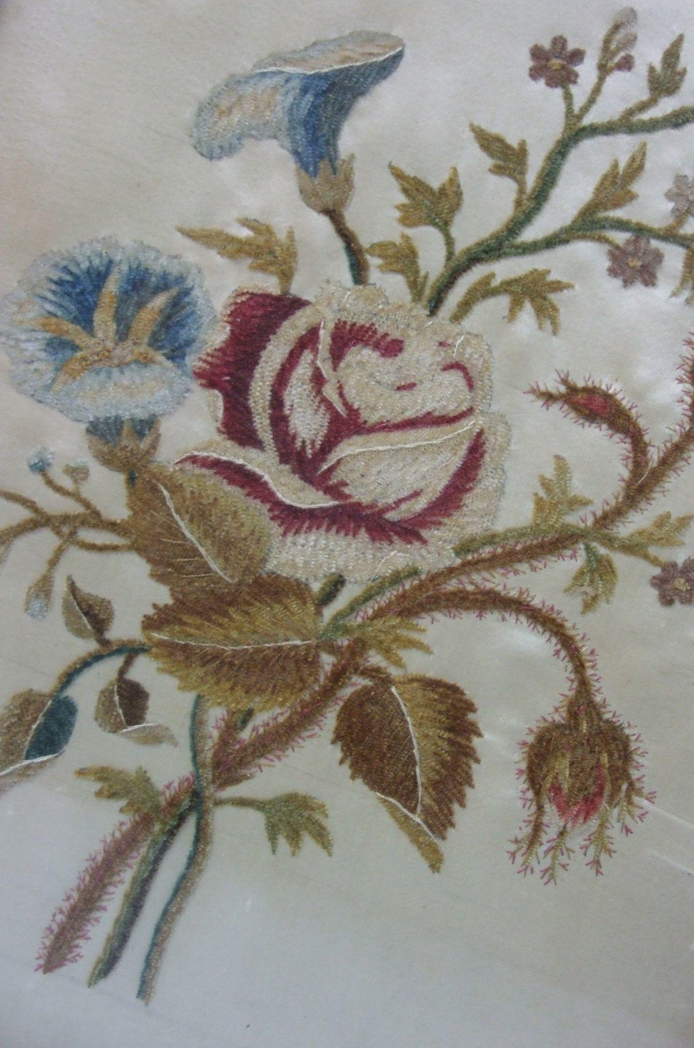 Pretty English Georgian Embroidered Silk Panel Old Fashioned Roses Flowers