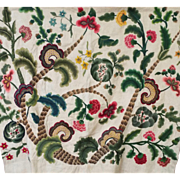 Antique English Crewelwork Embroidery Panel Flowers