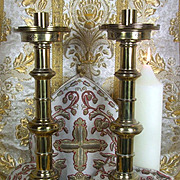 Antique French Religious Gothic Church Brass Candlesticks LARGE