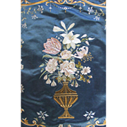 Antique French Textile Silk Embroidery Roses Flowers