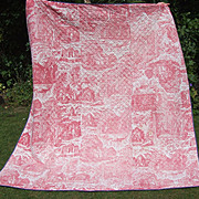 Antique French toile de jouy Block Printed Cotton Chateau Coverlet Quilt Figural Dogs