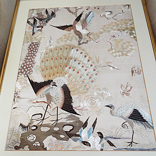 Antique Chinese Embroidered Silk Panel Hundred Birds Pattern