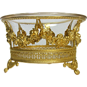 Antique French Napoleon III Crystal Dore Bronze Bowl Bon Non Dish