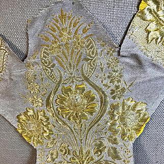 Antique Embroidered Ecclesiastical Orphrey Panel Raised Gold Mettalic Stumpwork Flowers