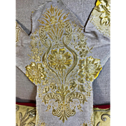 Antique Embroidered Ecclesiastical Orphrey Panel Raised Gold Mettalic Stumpwork Flowers