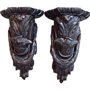 Antique French Empire Carved Wood Sconce Display Wall Bracket Shelf Eagle Head PAIR