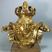 Antique Italian Hand Carved Gilded Wood Figural  Baroque Sculpture with Royal Crown LIFE SIZE