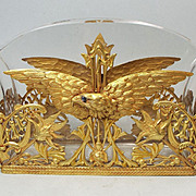 Antique French Empire Jardiniere Crystal Dore Bronze EAGLE