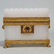 Antique French Charles X Bulle De Savon Opaline Glass Casket Ormolu Mounts