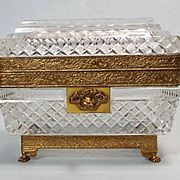 Antique French Empire Cut Crystal Dore Bronze Casket