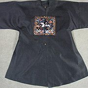 Antique Chinese Silk Surcoat Robe Embroidered Silk Civial Rank Badge