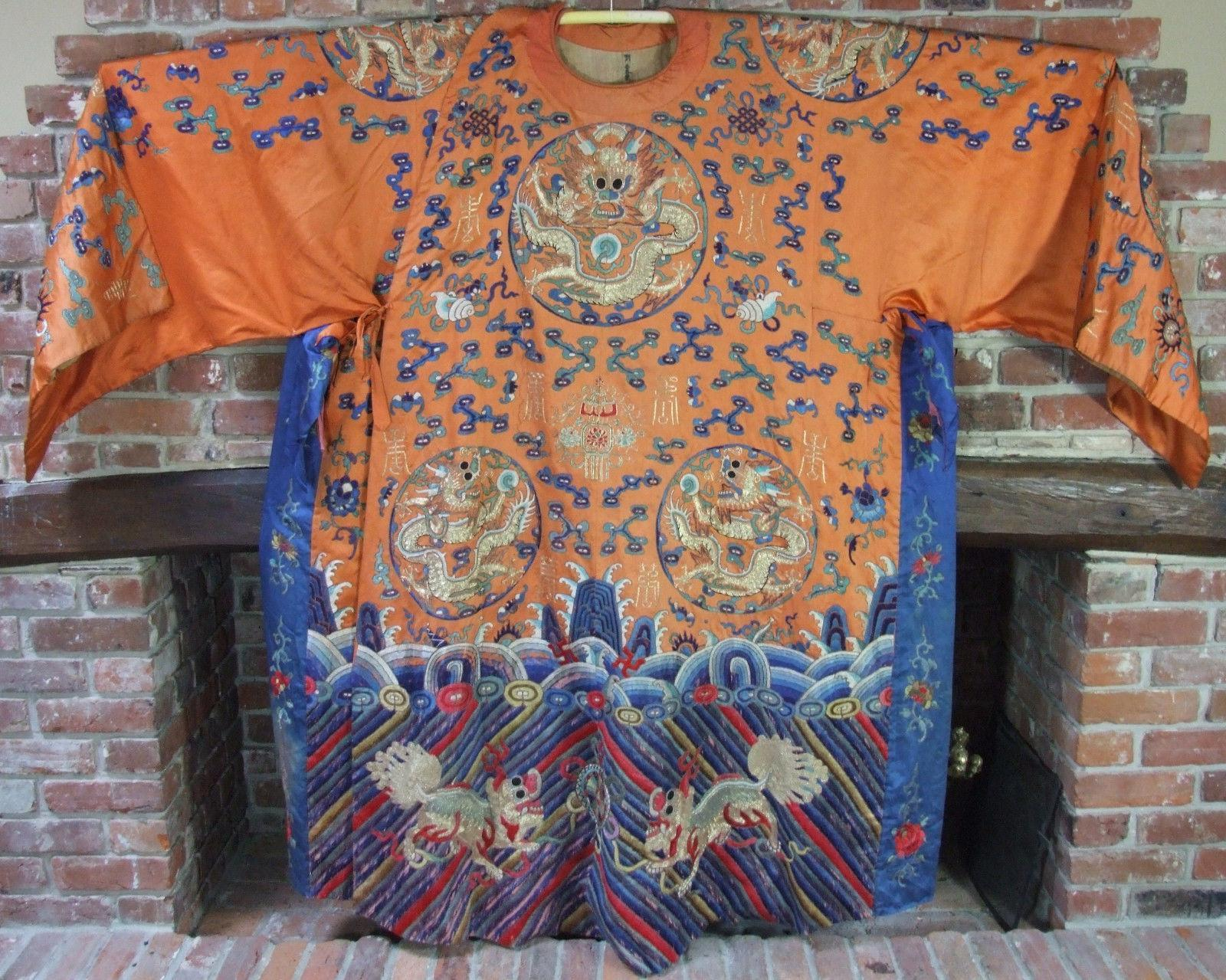 Antique Chinese Embroidered Silk Religious Idols Dragon Robe
