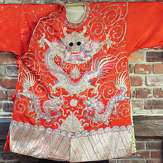 Antique Chinese Opera Dragon Robe Embroidered Silk Asian Textile