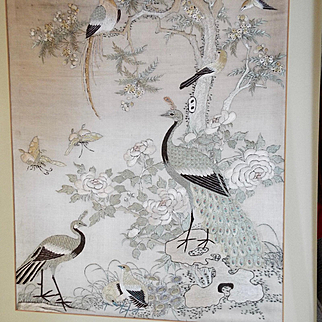 Antique Chinese Silk Embroidery Hundred Birds Design