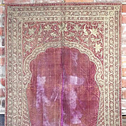 Antique Ottoman Islamic Prayer Mat Gold Metallic Embroidery Velvet Textile