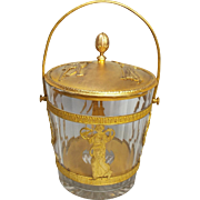 Antique French Empire Neo Classical Crystal Dore Bronze Ice Bucket