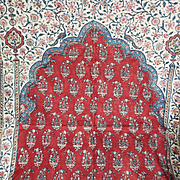 Antique India Chintz Mehrab Panel Indienne Block Printed Cotton Oriental Textile