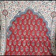 Antique India Chintz Mehrab Panel Indienne Block Printed Cotton Oriental Textile