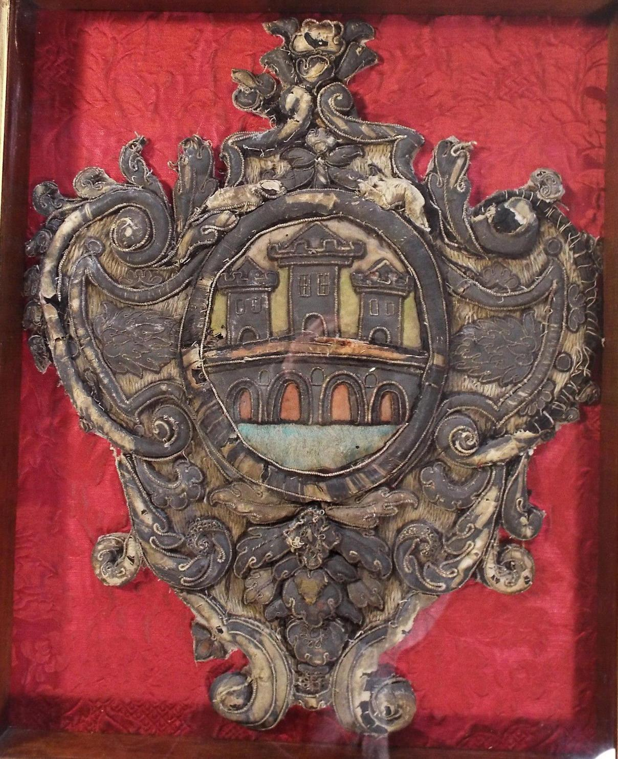 17th Century Italian Baroque Embroidered Stump Work Armorial Coat of Arms
