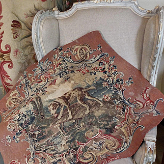 18th Century French Aubusson Tapestry DOG Flowers