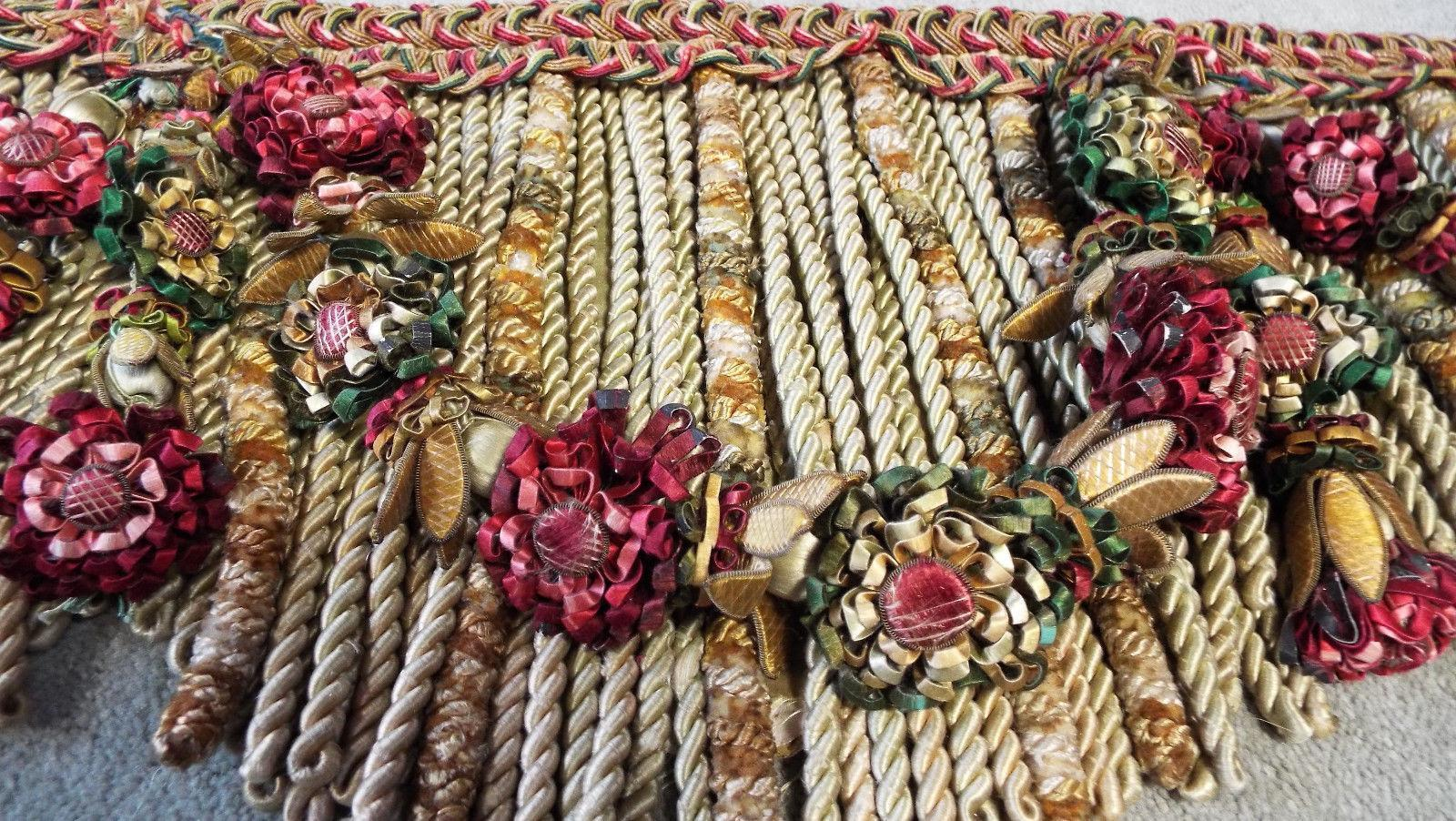 Beautiful Antique French Chateau Valence Pelmet Hand Made Lyon Silk Wired Flowers Silk Tassels