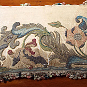 Antique  Italian Baroque Embroidered Silk Applique Pillow