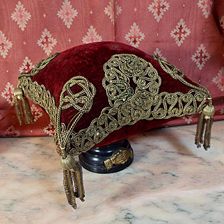 Antique French Silk Velvet Display Pillow Cushion Gold Metallic Trims