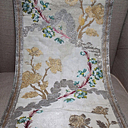 Antique 18th Century French Lyon Silk Brocade Panel Gold Silver Woven Tinsel