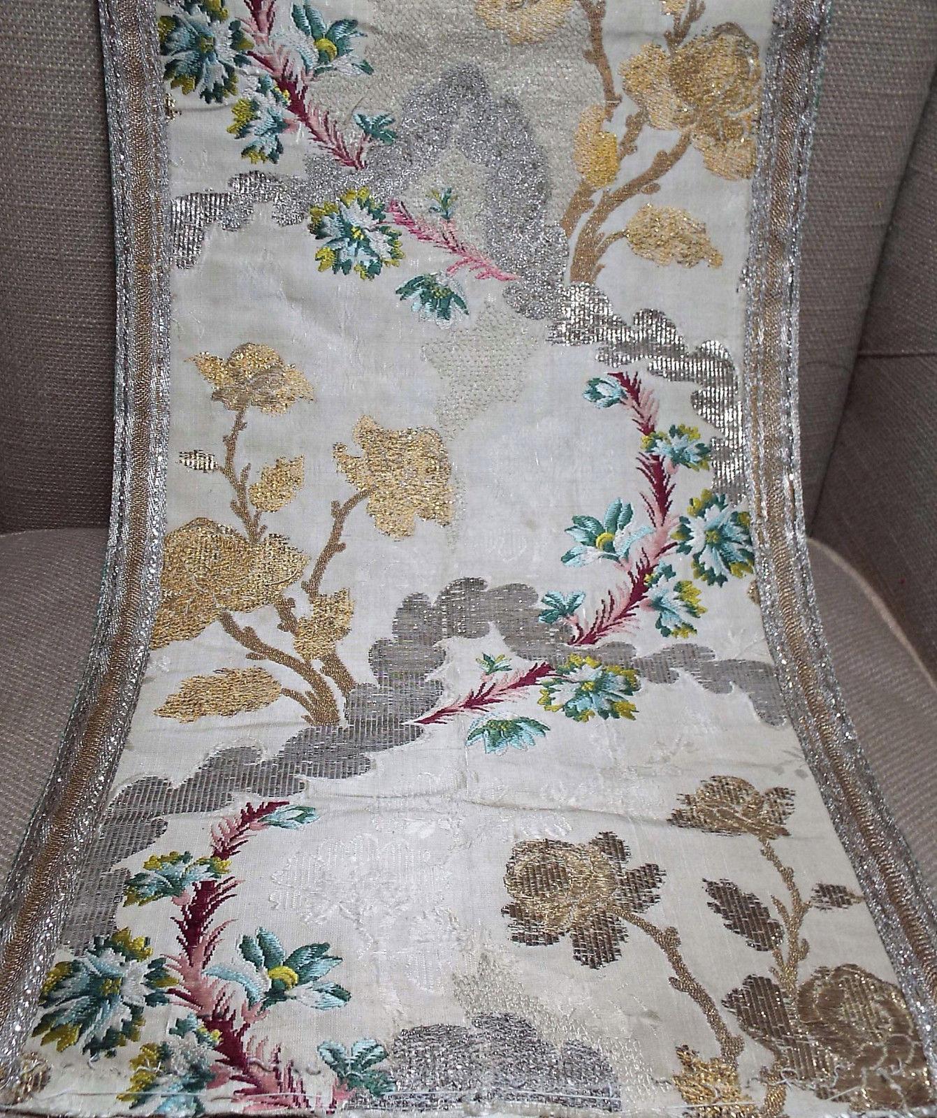 Antique 18th Century French Lyon Silk Brocade Panel Gold Silver Woven Tinsel