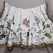 Antique 18th Century Embroidered Silk Apron English Georgian Needlework