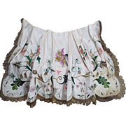 Antique 18th Century Embroidered Silk Apron English Georgian Needlework