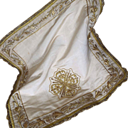 Antique French Gold Metallic Embroidered Vestment Chalice Veil