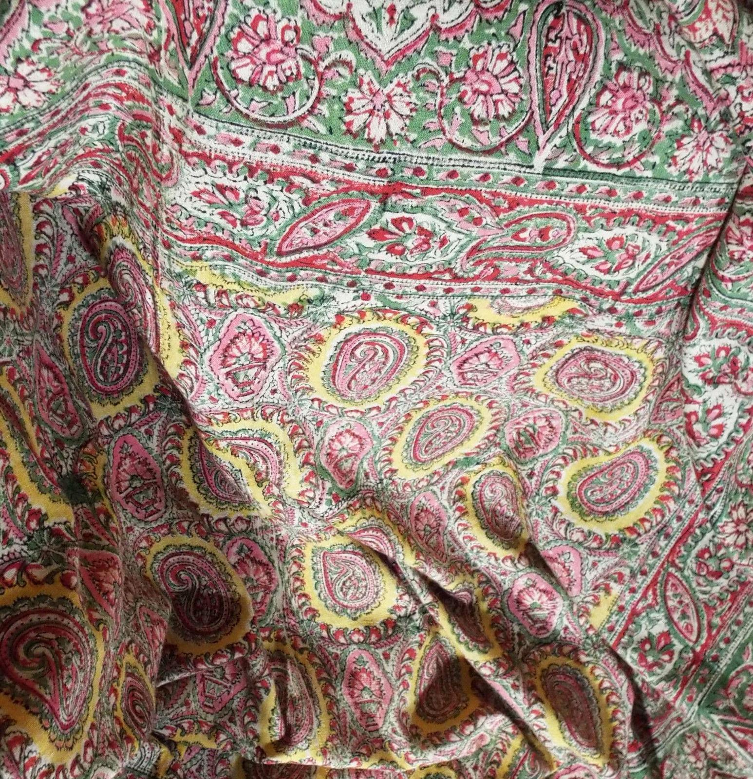 Circa 1900 Fine Kalamkari Hand Printed Cotton Cover Indienne Palampore Design