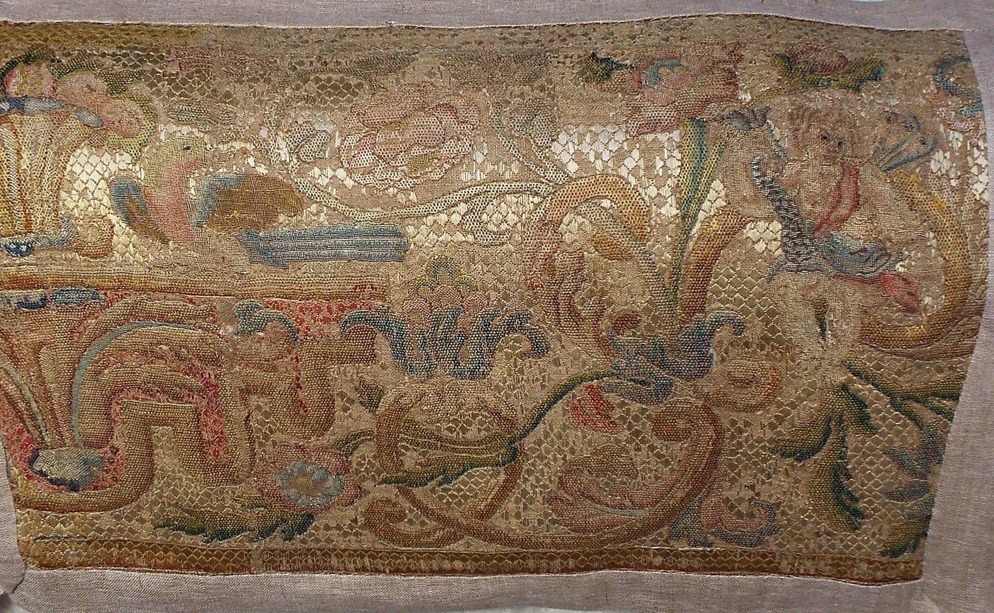 17th Century Italian Embroidered Figural Panel Cherub and Dove
