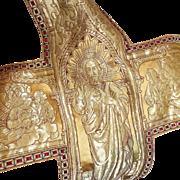 Antique French Gothic Religious Textile Ophrey Panel Gold Metallic Silk Brocade Angels Cherubs