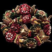 Antique French Wired Lyon Silk Flower Garland Passementerie Trim